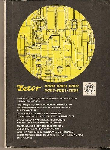 Zetor 4901, 5901, 6901, 5001, 6001 a 7001 - návod k obsluze a údržbě čtyřdobých naftových motorů
