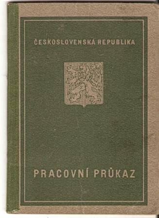 Pracovní průkaz 1947