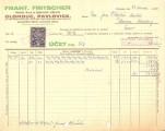 Účet - F. Fritscher, parní pila a obchod se dřívím Olomouc, Pavlovice