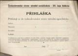 Čs. strana národně-socialistická - XIV. župa Kotkova - přihláška
