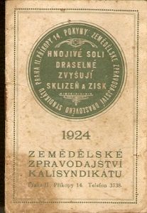 Kalendář 1924 - Zemědělské zpravodajství Kalisyndikátu