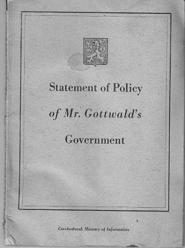 Statement of Policy of Mr. Gottwald's Government