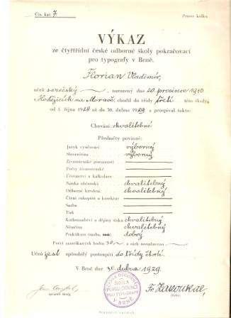 Výkaz ze čtyřtřídní české odborné školy pokračovací pro typografy - 1929