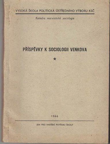 Příspěvky k sociologii venkova - r. 1966