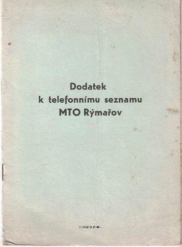 Dodatek k telefonnímu seznamu MTO Rýmařov.