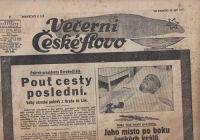 Večerní České slovo 15.9. 1937 - Pohřeb presidenta Osvoboditele (T. G. Masaryk)