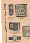Nabídkový list (reklama) - budíky a hodinky - obchodní dům Juwo, Brno, Orlí 18