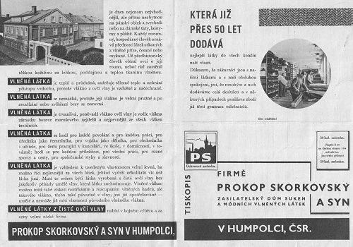 Reklama Prokop Skorkovský a syn - Humpolec - látka