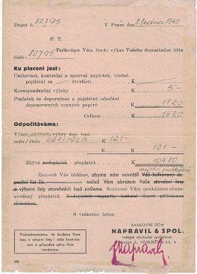 Výkaz depositního účtu z 8.1. 1945 - bankovní dům Napravil a spol. - Praha