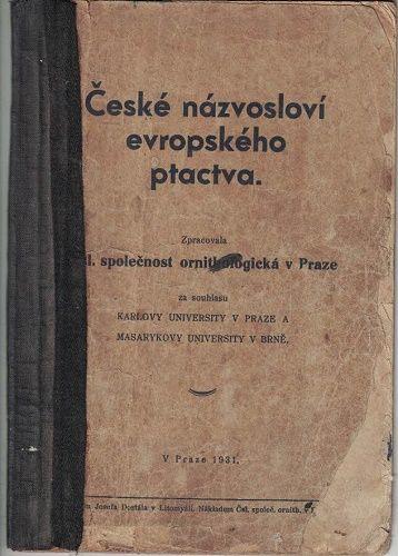 České názvosloví evropského ptactva - r. 1931