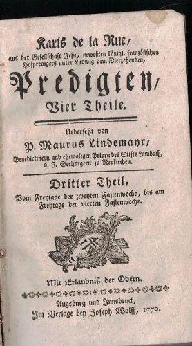 Karls de la Rue - Predigten IV von Maurus Lindemayr - dritter Theil