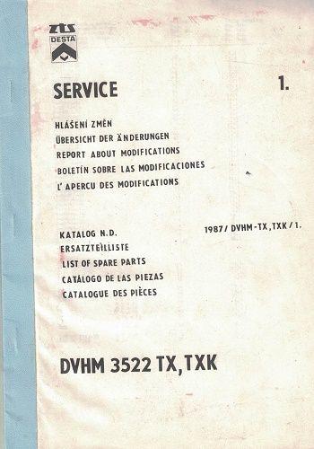 DVHM 3522 TX, TXK - katalog konstrukčních změn Desta
