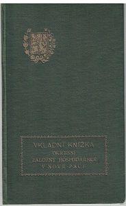 Vkladní knížka - Okresní záložny hospodářské - Nová Paka