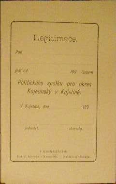 Legitimace Politického spolku pro okres Kojetínský